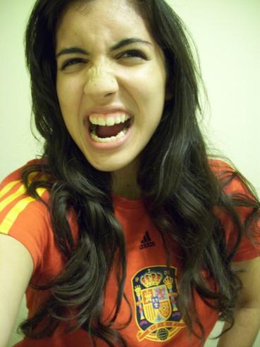 During 2010 festivities. Rockin' the Spain jersey.