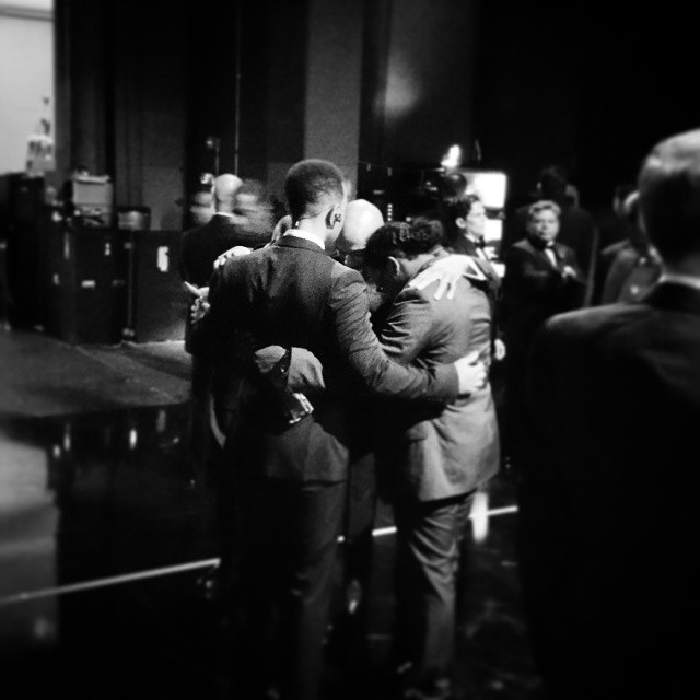 @theacademy John Legend, Common and crew taking a moment before they hit the stage #oscars